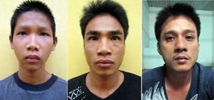 Ba đối tượng cướp, cướp giật và trộm cắp tài sản bị bắt giữ (từ trái sang) là Linh, Khanh và Phong.