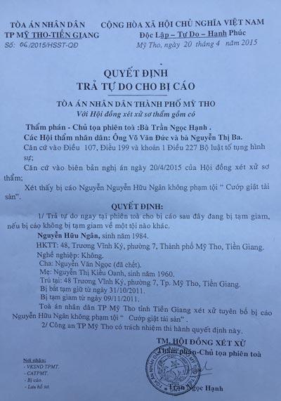 Quyết định trả tự do cho bị cáo Nguyễn Hữu Ngân