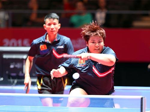 Đôi nam nữ Đinh Quang Linh - Mai Hoàng Mỹ Trang giành thêm 1 HCĐ cho bóng bàn Việt Nam Ảnh: QUANG LIÊM