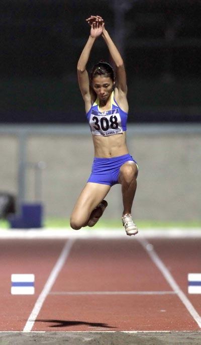 Trần Huệ Hoa, ứng viên nặng ký cho chức vô địch nội dung nhảy 3 bước nữ.  Ảnh: ĐÀO TÙNG
