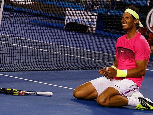 Nadal vui mừng sau trận thắng khó nhọc trước Smyzcek như thể anh vừa giành 1 chức vô địch Grand Slam Ảnh: REUTERS