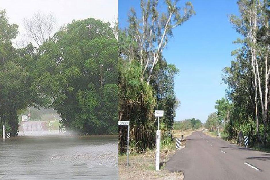 Hàng cây tại khu vực linh thiêng của thổ dân trước (ảnh trái) và sau khi bị đốn hạ ở ngoại ô TP Darwin Ảnh: ABC
