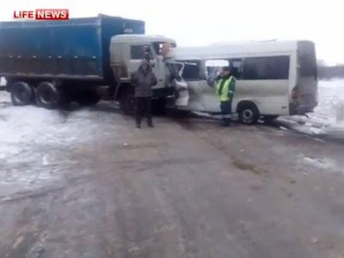 Hiện trường vụ tai nạn ở TP Belgorod Ảnh: Lifenews.ur