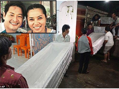 Quan tài chuyển đến nhà tù Nusakambangan trong khi tử tù người Úc Andrew Chan kết hôn với bạn gái (ảnh nhỏ) Ảnh: AP - Daily Mail