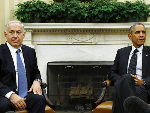 Tổng thống Mỹ Barack Obama (phải) và Thủ tướng Israel Benjamin Netanyahu tại Nhà Trắng hồi tháng 10-2014 Ảnh: Reuters
