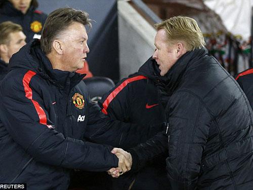 Ở lần gặp nhau vào đầu tháng 12-2014, M.U của HLV Van Gaal (trái) đã thắng Southampton của ông Koeman 2-1 ngay trên sân khách Ảnh: REUTERS