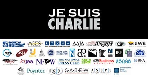 """Hơn 30 tổ chức báo chí Mỹ đã đưa tên tuổi lên một tấm ảnh có dòng chữ """"Je suis Charlie"""" (Tôi là Charlie) Ảnh: poynter.org"""