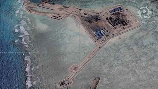 Ảnh chụp Trung Quốc đơn phương cải tạo bãi đá Gaven thuộc quần đảo Trường Sacủa Việt Nam hôm 12-12-2014 Ảnh: RAPPLER.COM