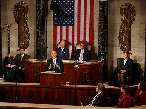 Tổng thống Mỹ Barack Obama tự tin trong bài phát biểu thông điệp liên bang lần thứ 6 của mình. Ảnh: AP