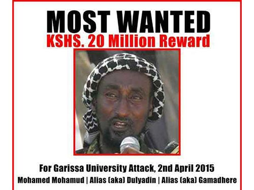 Thông báo truy nã tay súng Mohamed Mahamud  Ảnh: Bộ Nội vụ Kenya