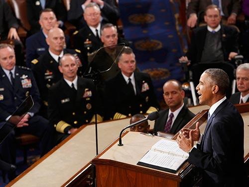 Tổng thống Mỹ Barack Obama đọc Thông điệp Liên bang hôm 20-1 Ảnh: REUTERS