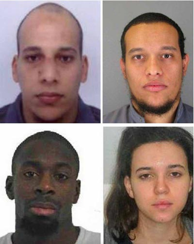 Bốn nghi phạm (theo chiều kim đồng hồ): Cherif Kouachi, Said Kouachi, Amedy Coulibaly và Hayat Boumeddiene Ảnh: BUSINESS INSIDER