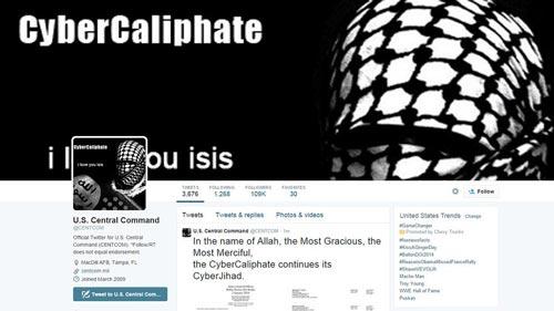 Trang Twitter của Bộ Chỉ huy Trung ương Mỹ bị tin tặc tấn công Ảnh: MARKET WATCH