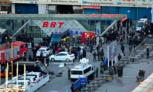 Một vụ tấn công bằng dao và bom xảy ra tại nhà ga ở thủ phủ Urumqi của Tân Cương vào năm ngoái Ảnh: AP