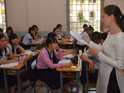 Học sinh Trường THPT Marie Curie (TP HCM) trong một giờ học văn. (Hình chỉ có tính minh họa)Ảnh: TẤN THẠNH