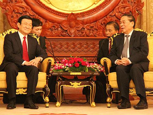 Chủ tịch nước Trương Tấn Sang hội đàm với Tổng Bí thư, Chủ tịch CHDCND Lào Choummaly SayasoneẢnh: chinhphu.vn