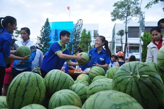 Đoàn viên thanh niên Quảng Ngãi bán dưa hấu giúp bà con nông dân