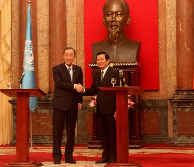 Chủ tịch nước Trương Tấn Sang tiếp Tổng Thư ký  Liên Hiệp Quốc Ban Ki-moon