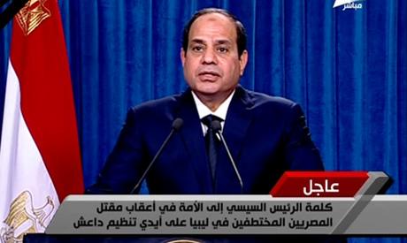 Tổng thống Ai Cập Abdel-Fattah El-Sisi tuyên bố sẽ trả đũa IS về việc nhóm khủng bố này hành quyết 21 con tin người Ai Cập. Ảnh: Ahram