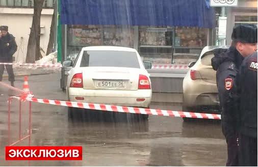 Chiếc xe nghi chở những kẻ sát hại ông Nemtsov tẩu thoát. Ảnh: Twitter