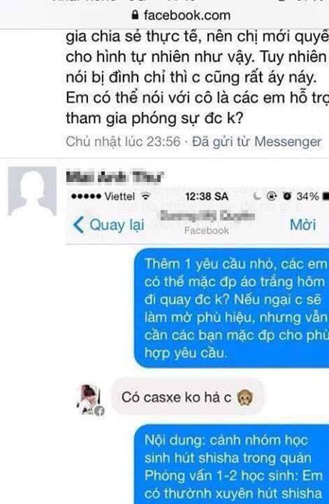 Một số tin nhắn được cho là tin nhắn qua lại giữa BTV Mai Anh Th.và các em học sinh