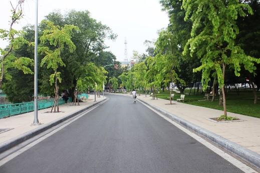 Phố Nguyễn Đình Thi vừa được đặt tên, đoạn từ ngã ba giao cắt đường Thanh Niên cạnh vườn hoa Lý Tự Trọng đến ngã ba giao cắt phố Trích Sài (đối diện nhà số 2). Đoạn đầu đường đi qua cửa sau trường THPT Chu Văn An.
