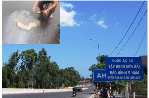 Tập đoàn Sơn Hải cam kết bảo hành tuyến đường 5 năm (ảnh lớn). Mặt đường bị kẻ xấu tưới hóa chất lạ (ảnh nhỏ)