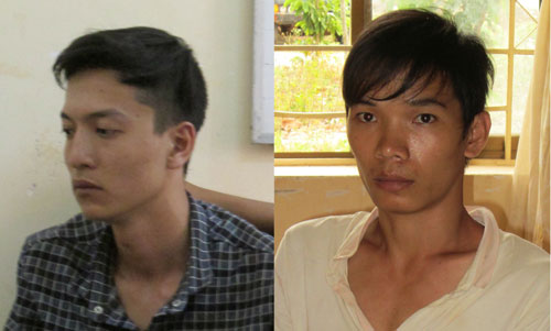 Nguyễn Hải Dương và Vũ Văn Tiến (áo trắng) bị khởi tố, bắt tạm giam 4 tháng để điều tra hành vi giết người, cướp tài sản Ảnh: TẤN HƯNG