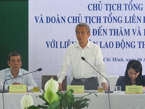 Ông Đặng Ngọc Tùng - Ủy viên Trung ương Đảng, Chủ tịch Tổng LĐLĐ Việt Nam - phát biểu tại hội nghị