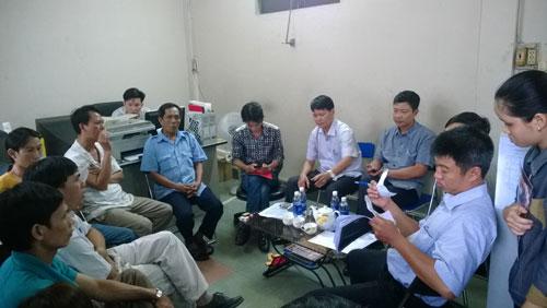 Buổi hòa giải tranh chấp lao động tại một công ty đóng trên địa bàn quận 12, TP HCM