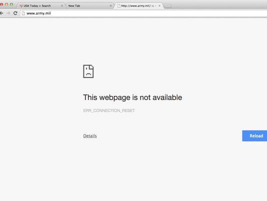 Trang web quân đội Mỹ tạm thời bị tháo xuống. Ảnh: US Army