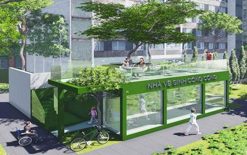 """Thiết kế đạt giải nhất bảng A chủ đề """"Nhà vệ sinh trong công viên"""" của thí sinh Bùi Văn Thái. (Ảnh do ban tổ chức cung cấp)"""