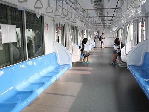 Mô hình nội thất của một toa tàu thuộc tuyến metro số 1 Bến Thành - Suối Tiên Ảnh: Hoàng Triều