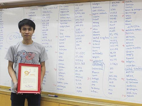 Dương Anh Vũ nhận bằng chứng nhận của Sách Kỷ lục Thái Lan.  (Ảnh do nhân vật cung cấp)