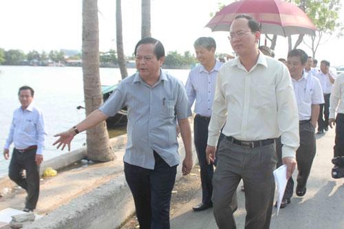 Lãnh đạo TP kiểm tra công trình chống ngập đoạn sông Cần Giuộc, phường 16, quận 8 ngày 9-4