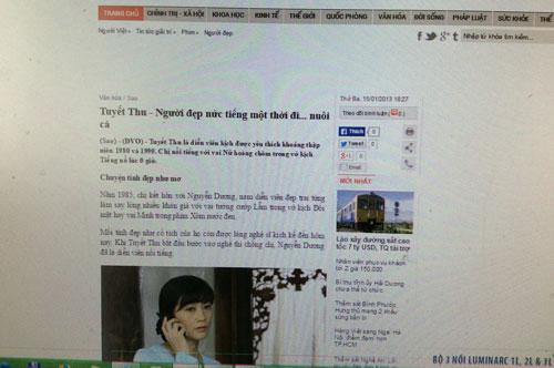 Phần đầu bài viết về nghệ sĩ Tuyết Thu nhưng thông tin lại của nghệ sĩ Thu Tuyết (Ảnh chụp bài báo qua màn hình)