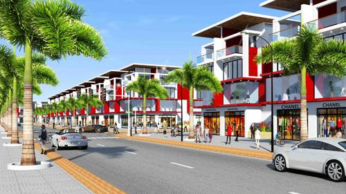Phối cảnh tổng thể dãy nhà ở kết hợp kinh doanh thuộc dự án mới do Công ty CP Địa ốc Kim Oanh  làm chủ đầu tư