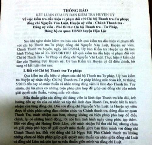 Thông báo về kết luật của Ủy ban kiểm tra huyện Hậu Lộc về những vi phạm của ông Nguyễn Văn Luật, Chánh Thanh tra huyện