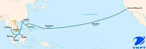 Sơ đồ tuyến cáp AAG nối liền Đông Nam Á với nước Mỹ với chiều dài hơn 20.000 km Ảnh: VNPT