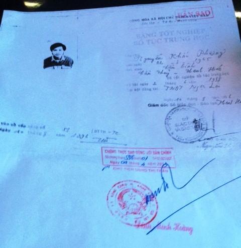 Bản photo bằng tốt nghiệp giả của ông Nguyễn Khắc Phượng