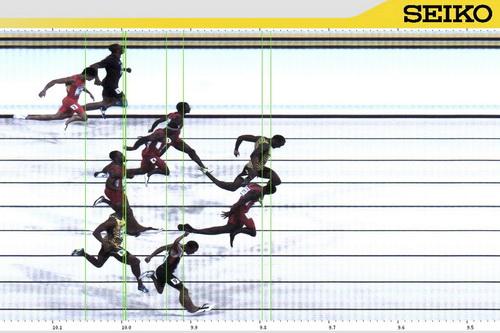 Không được thi đấu một thời gian, Gatlin vẫn chứng tỏ được tài năng (phải cần đến ảnh chụp đích đến mới xác định được người thắng ở cự ly 100m)