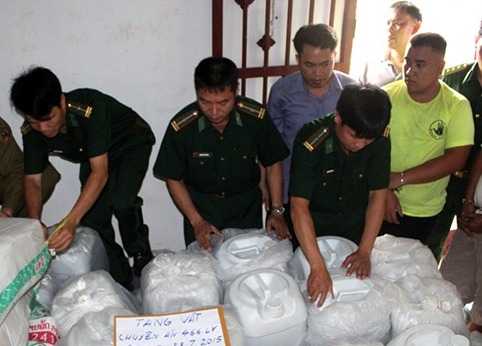 Số ma túy khủng lực lượng chức năng thu giữ. Ảnh: BĐBP cung cấp.