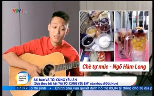 Bùi Nhật Anh hát nhạc chế phát trong chương trình Cuộc sống thường ngày trong chiều 4-7 trên VTV1 (ảnh cắt từ clip)