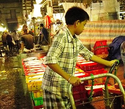 Lao động trẻ em làm việc ở chợ đầu mối nông sản Bình Điền (TP HCM)