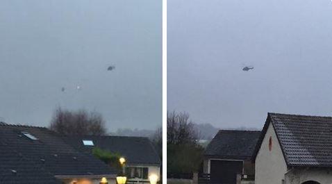 Trực thăng được huy động tham gia cuộc truy bắt. Ảnh: Le Figaro