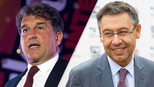 Cựu chủ tịch Laporta (trái) và đương kim chủ tịch Bartomeu là 2 ứng viên hàng đầu trong cuộc bầu cử vào ngày 18-7 Ảnh: ESPN