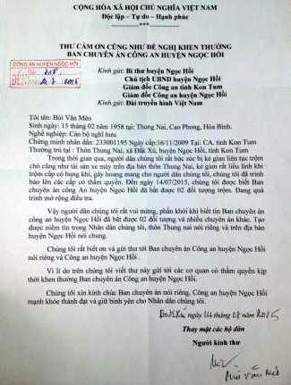Bức thư người dân cám ơn công an huyện Ngọc Hồi