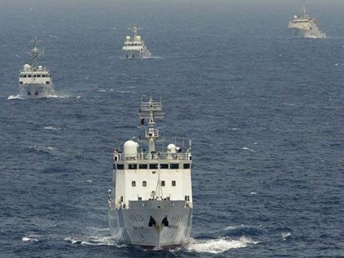 Tàu Trung Quốc xuất hiện gần quần đảo Senkaku/Điếu Ngư mà Nhật Bản đang kiểm soát Ảnh: SCMP