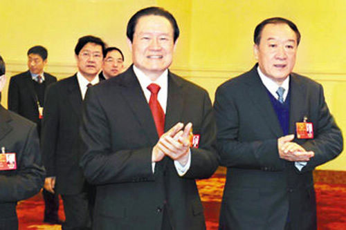 Cựu Phó Chủ tịch CPPCC Tô Vinh (phải) và cựu Ủy viên Thường vụ Bộ Chính trị Đảng Cộng sản Trung Quốc Chu Vĩnh Khang Ảnh: ĐẠI CÔNG BÁO