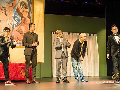 Các nghệ sĩ Sân khấu Kịch Idecaf trong vở Hợp đồng mãnh thú chào tạm biệt khán giả kiều bào tại Mỹ